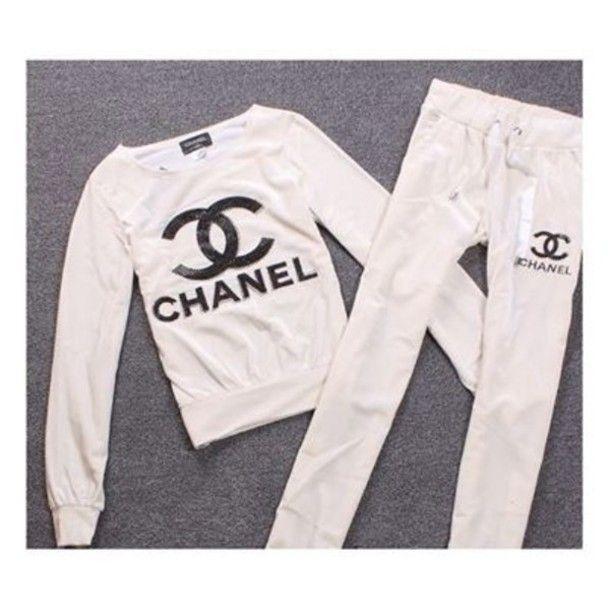 coat tracksuit chanel style jacket pants  4eb247e74