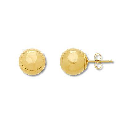 8eca73058faac4 Round Ball Stud Earrings 10K Yellow Gold | Products | Stud earrings ...