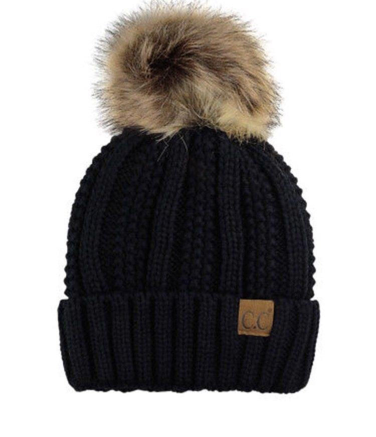 776b6c9254199 CC Beanie Faux Fur Pom Pom Hat Cap PomPom Adult Kids Genuine  fashion   clothing