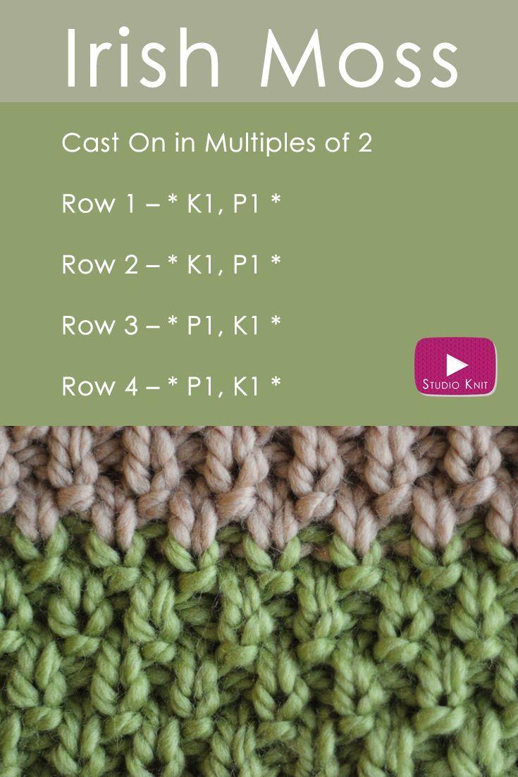 How to Knit the IRISH MOSS Stitch Pattern with | Irish moss, Knit ...