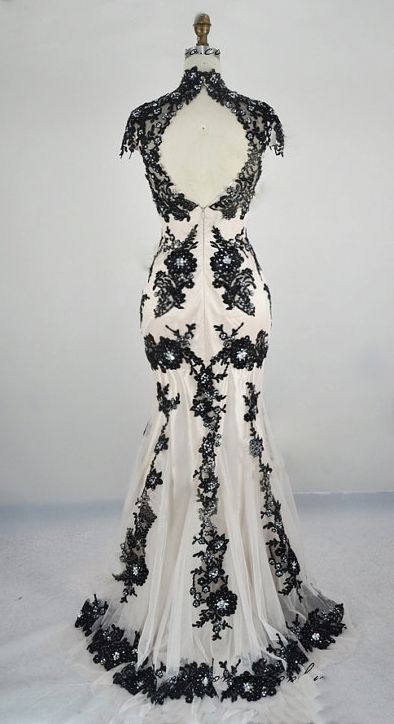 Black white wedding gown classic lace elegant summer for Black and grey wedding dress