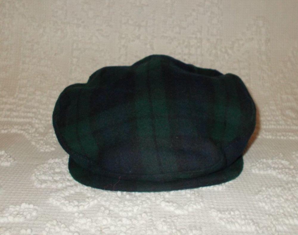 4c8570865a6 Vintage Pendleton Virgin Wool Newsboy Cabbie Blue   Green Plaid Hat Cap Sz  LARGE  Pendleton  NewsboyCabbie