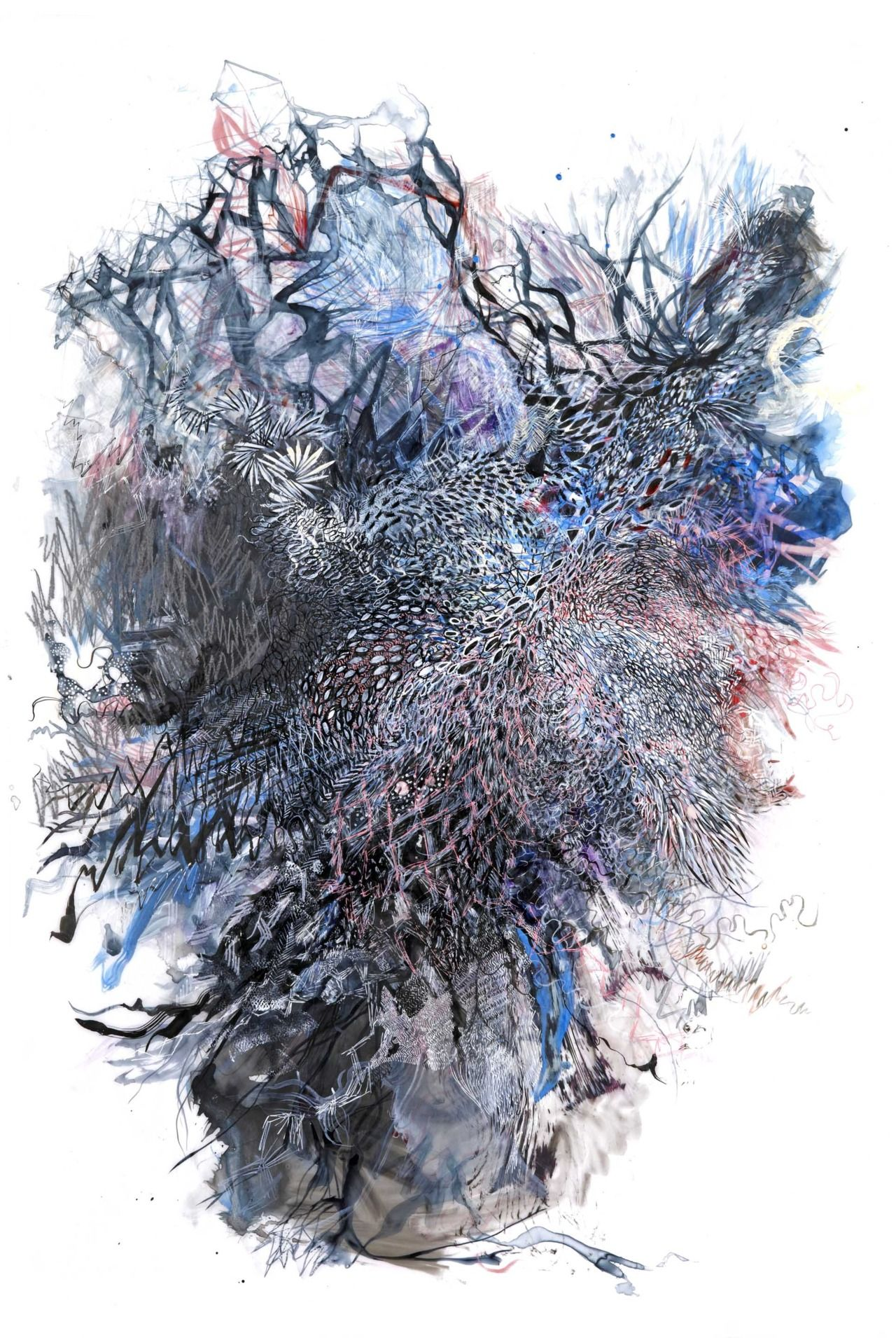 """Second Nature 10, 36 by 24"""", Ink, graphite and gouache on mylar"""