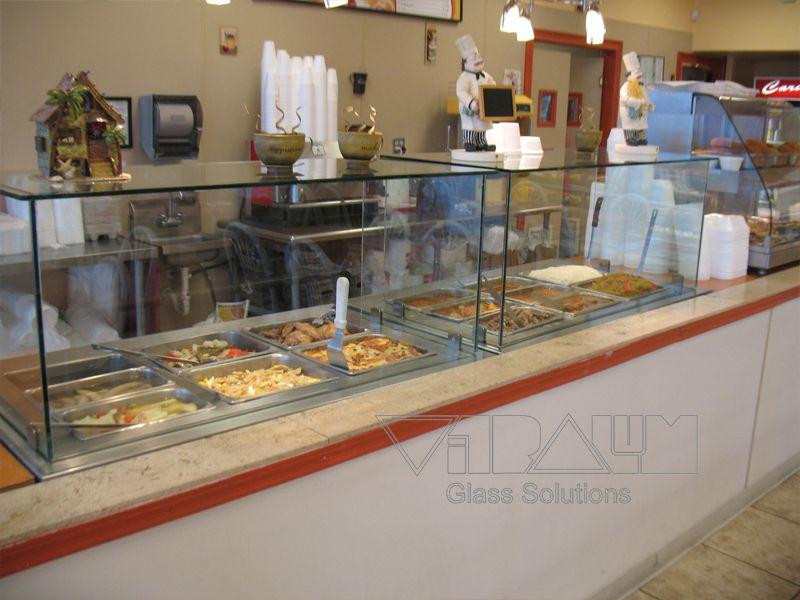 Restaurant Custom Glass Sneeze Guard Custom Glass