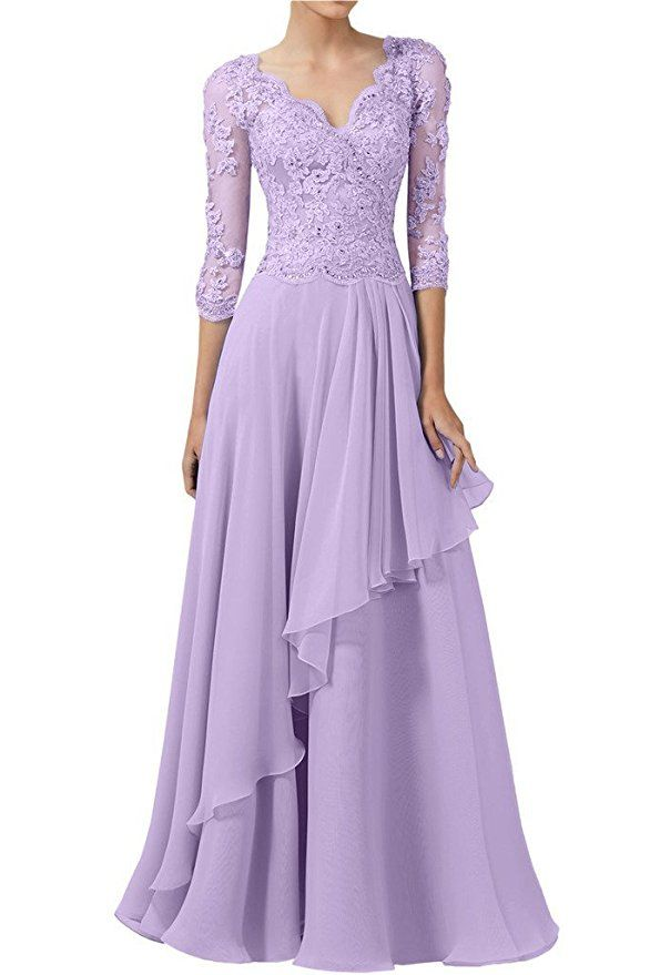 Womens V-Neck 3//4 Sleeves Lace Appliques Long Chiffon Evening Gowns Mother of The Bride Dresses