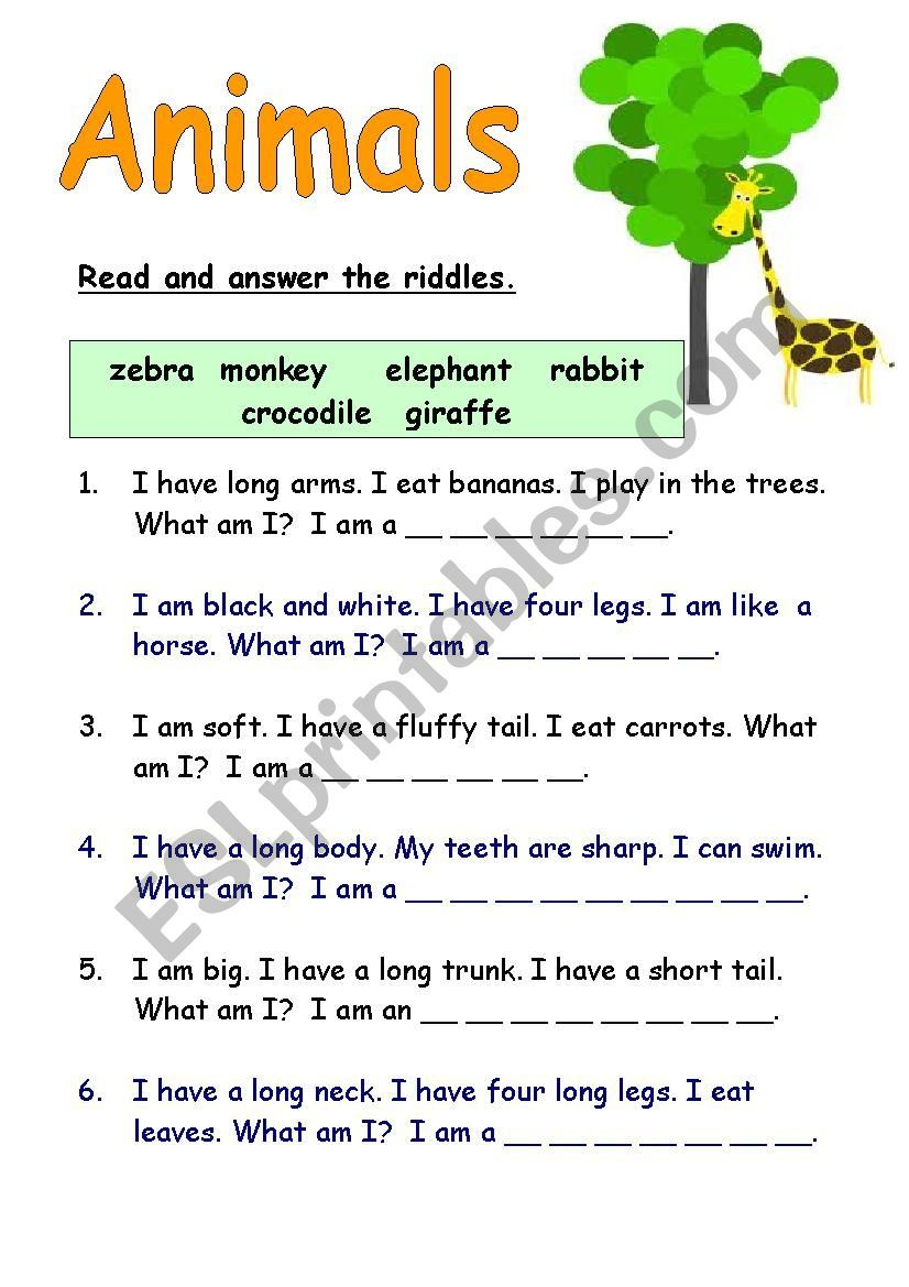 Enjoyable riddles about animals for children to guess. in
