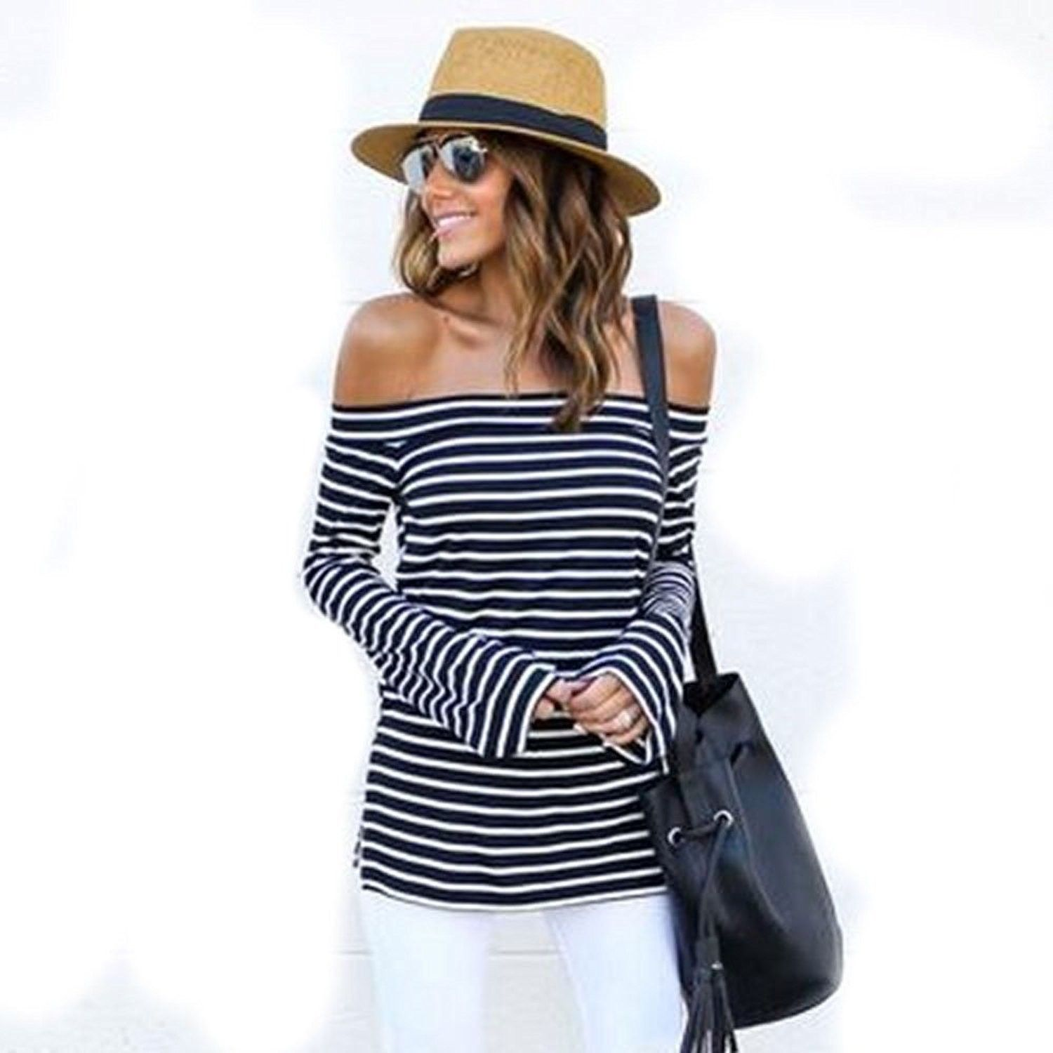 ef3918af Women's Off Shoulder Top Casual Loose Blouse Long Sleeve Strapless Stripe  Tops - CI187G86UHA,Women's Clothing, Tops & Tees, Blouses & Button-Down  Shirts ...