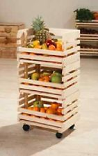 3 Tier Veg Fruit Wooden Rack Shelf Wheels Trolley Box Kitchen Storage Deep Crate Diy Furniture Decor