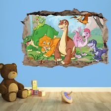 Good Dinosaur Wall Decal Dinosaurs 3D Smashed Wall Decor Art Sticker Kids Vinyl Poster Mural Custom Nursery Gift BL98