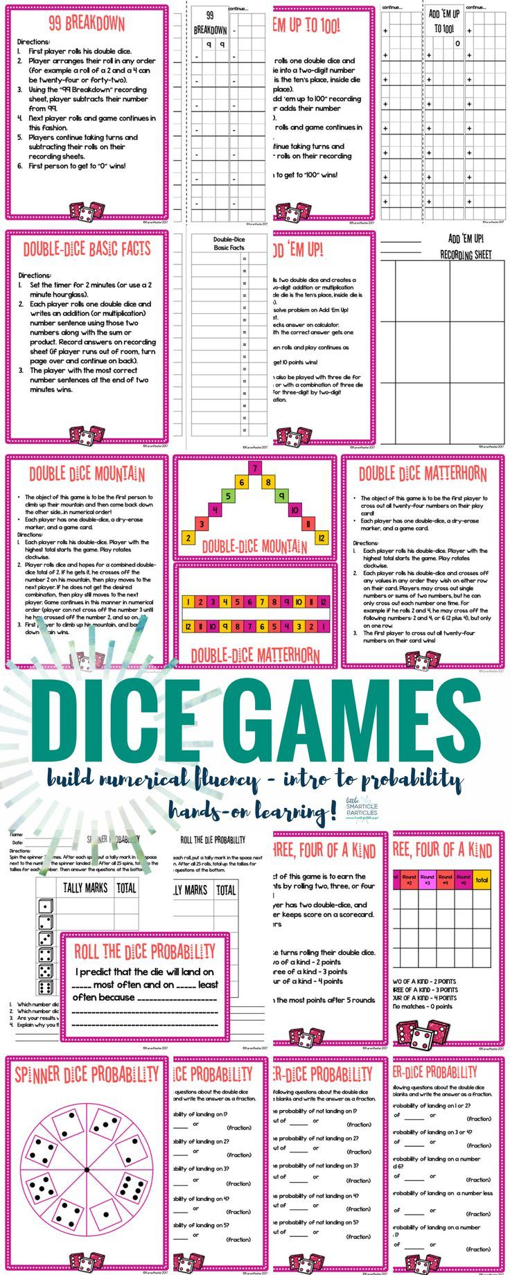 Math Centers Dice Games Distance Learning Dice math