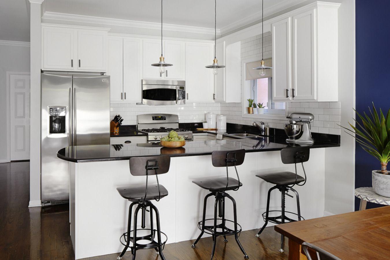 A Chicago Writer's Jeweled Home Kitchen peninsula, Chic