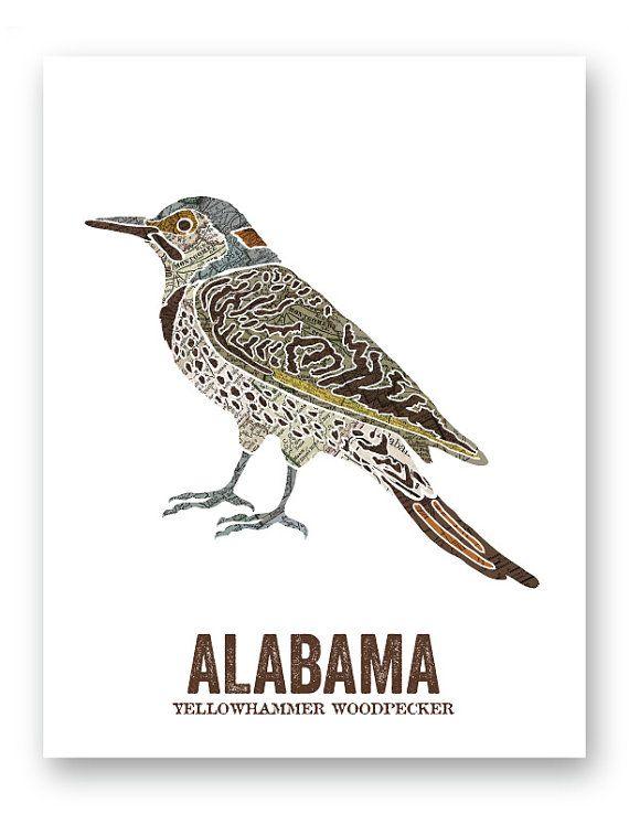 Alabama State Bird Nature Art Outdoor Art Vintage Map Art Etsy Nature Art Vintage Maps Art Outdoor Art
