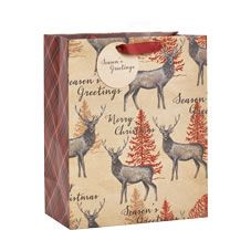 Wilko Christmas Gift Bag Large Stag Design Festive Forest