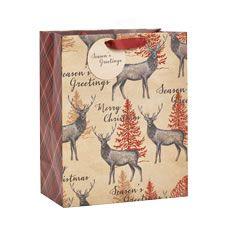 Wilko Christmas Gift Bag Large Stag Design Festive Forest