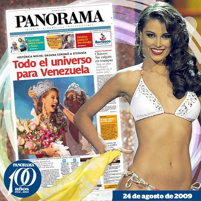 Estefanía Fernández recibió la corona de miss Universo de manos de otra venezolana, Dayana Mendoza.