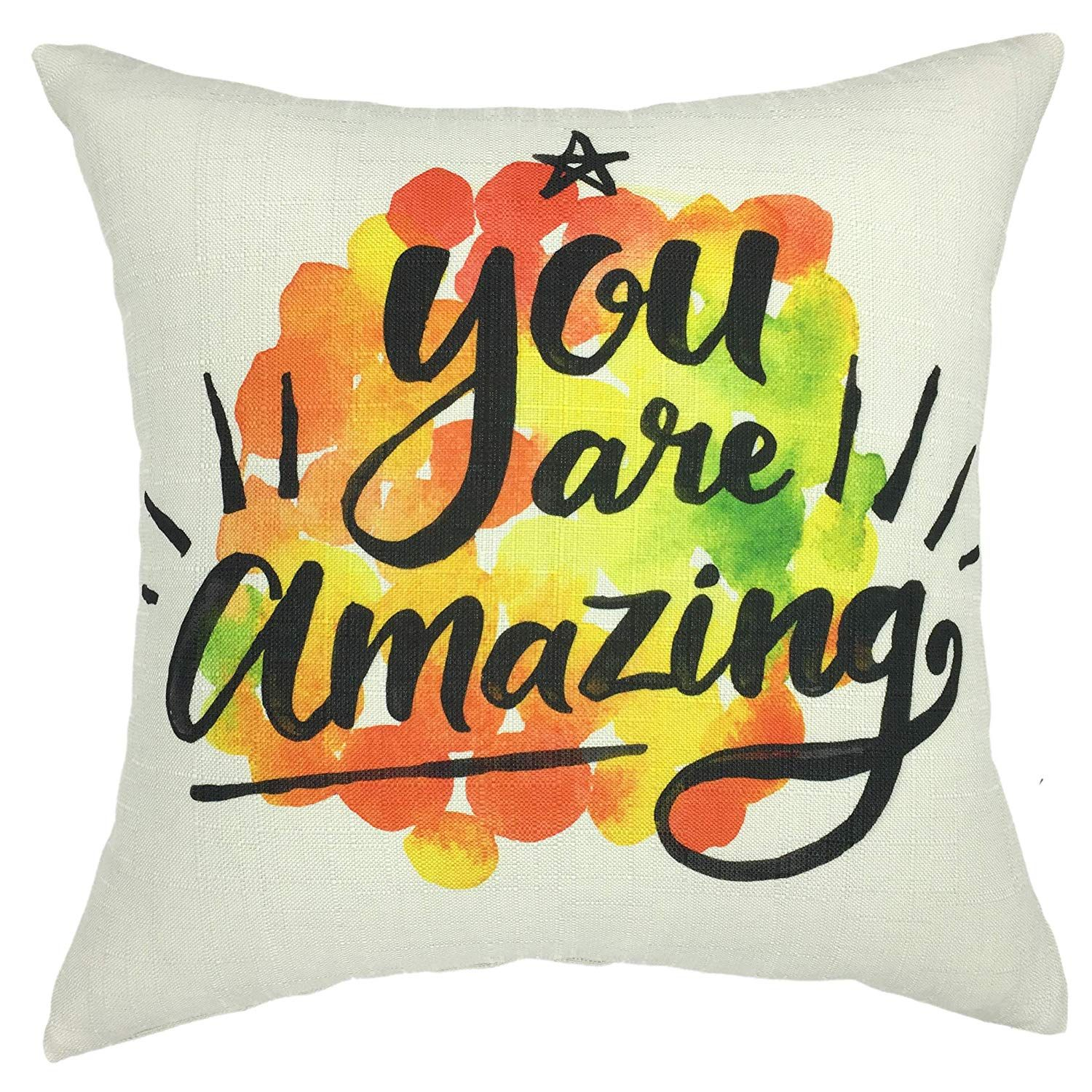 Sq Quote Magnificent Amazonsmile Your Smile Inspiring Quote Cotton Linen Square .