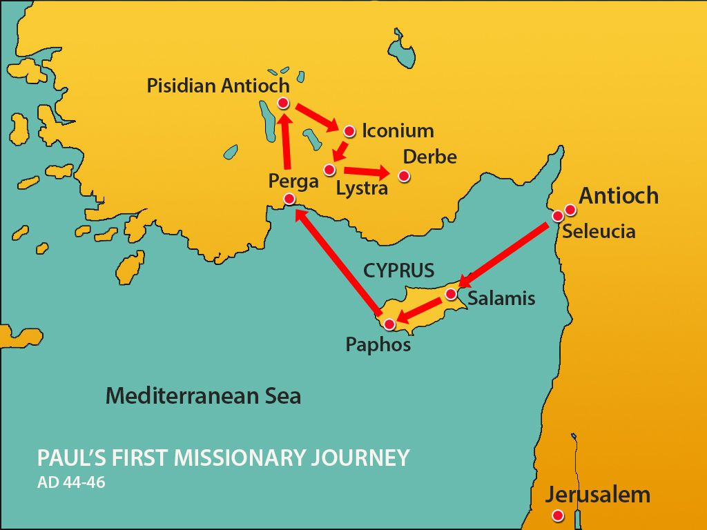 Image Result For Paul S First Missionary Journey Map With
