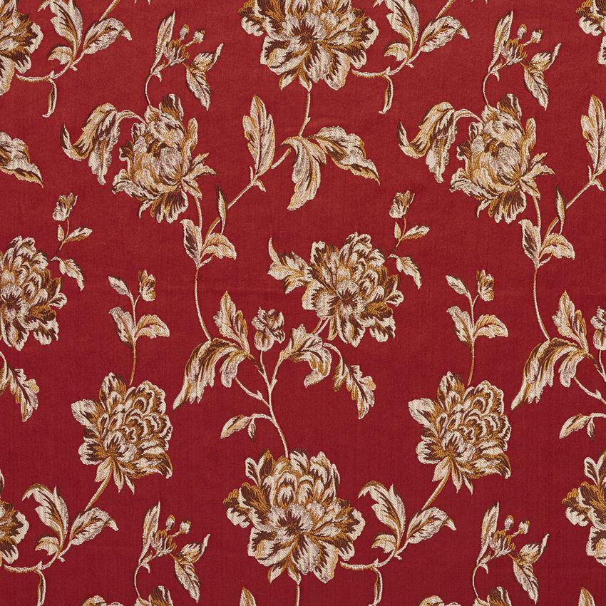 Red And Burgundy Heirloom Vintage Flower Pattern Brocade Upholstery Fabric Vintage Flowers Upholstery Fabric Floral Fabric
