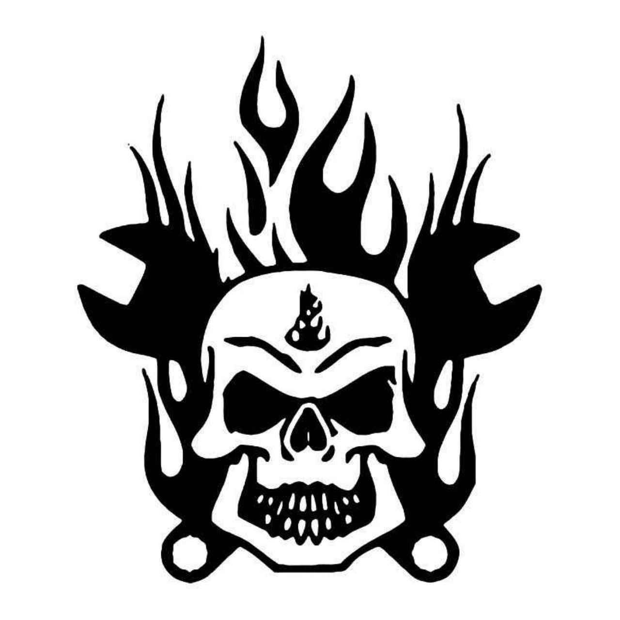 Skull Flame Wrenches Vinyl Decal Sticker Ballzbeatz Com