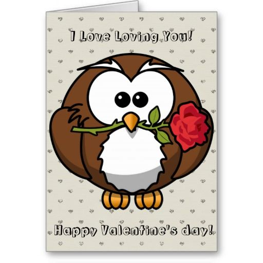 Happy Valentines Day Funny Owl With Rose Cartoon Holiday Card My