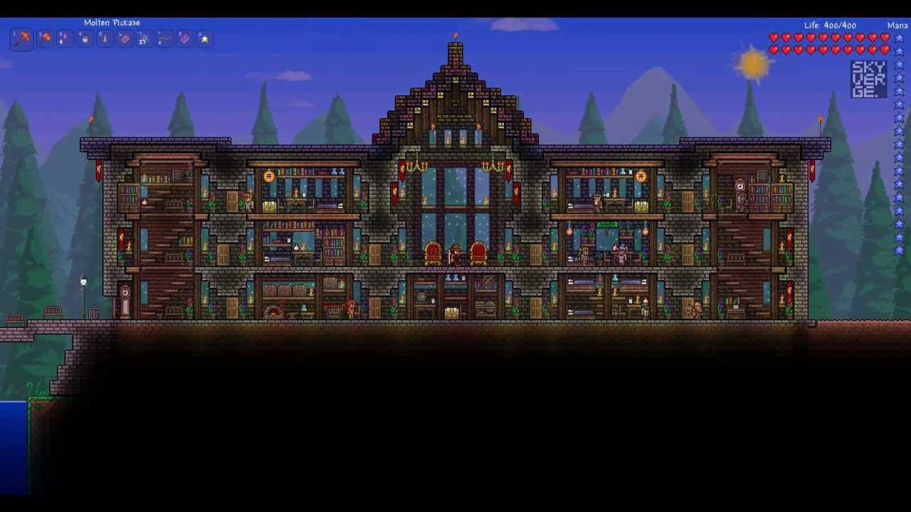 I Really Like The Garden And Arches In This One Terraria Wiring Heart Statue Look Of Mansion