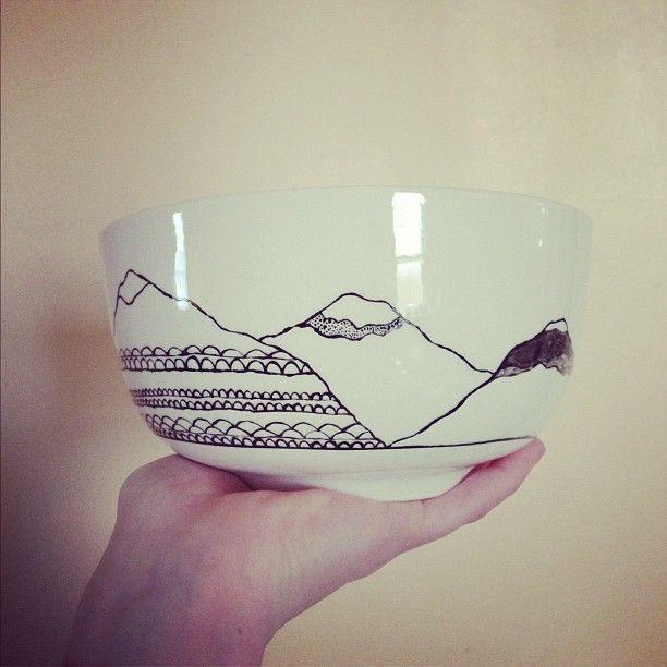 Mountain Bowl Pottery Painting Ceramic Painting Bowl