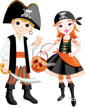 Royalty Free Clipart Image Of A Boy And A Girl Dressed As Pirates Pirate Costume Kids Halloween Clips Pirate Costume