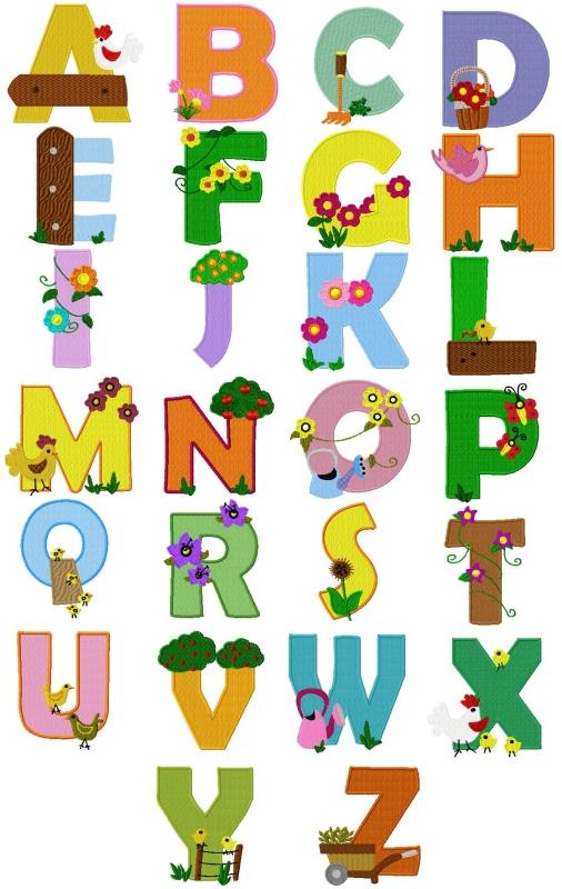 Farm Alphabet 4x4 hoop size Formats pes, dst, exp, sew