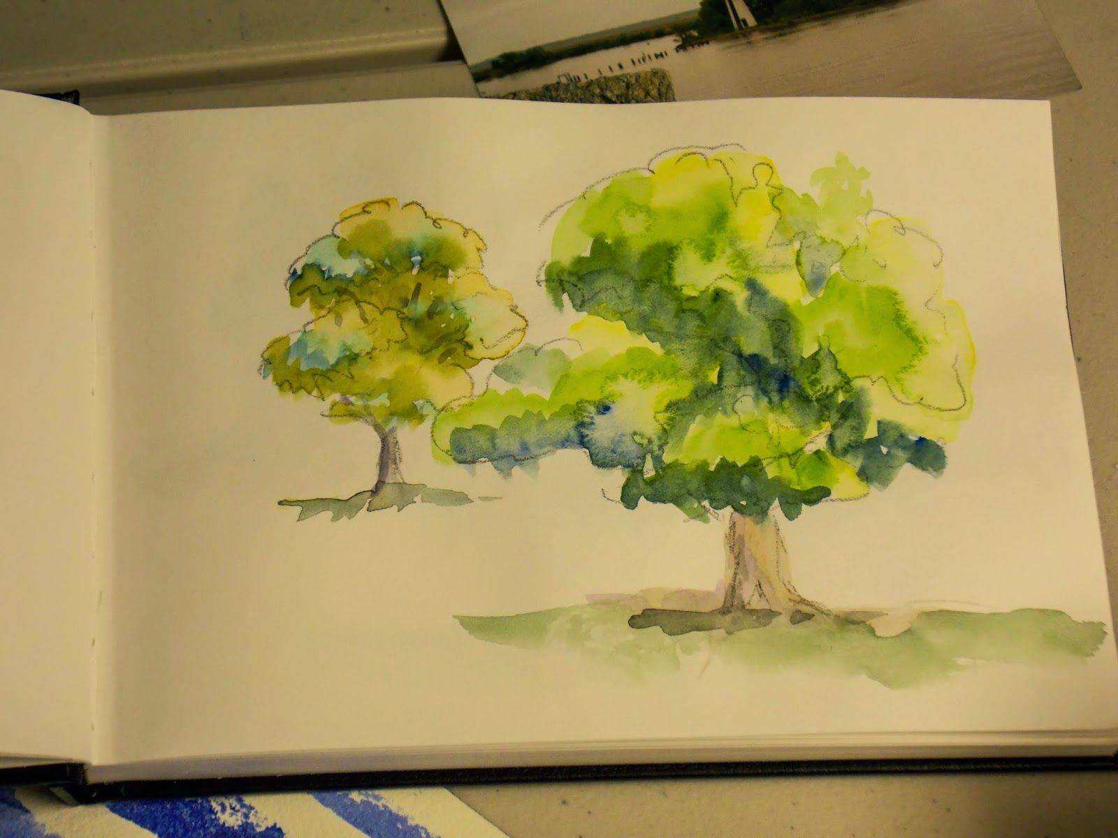 "sketchbook demo from Annie Strack's watercolor painting workshop -- ""Just Trees"""
