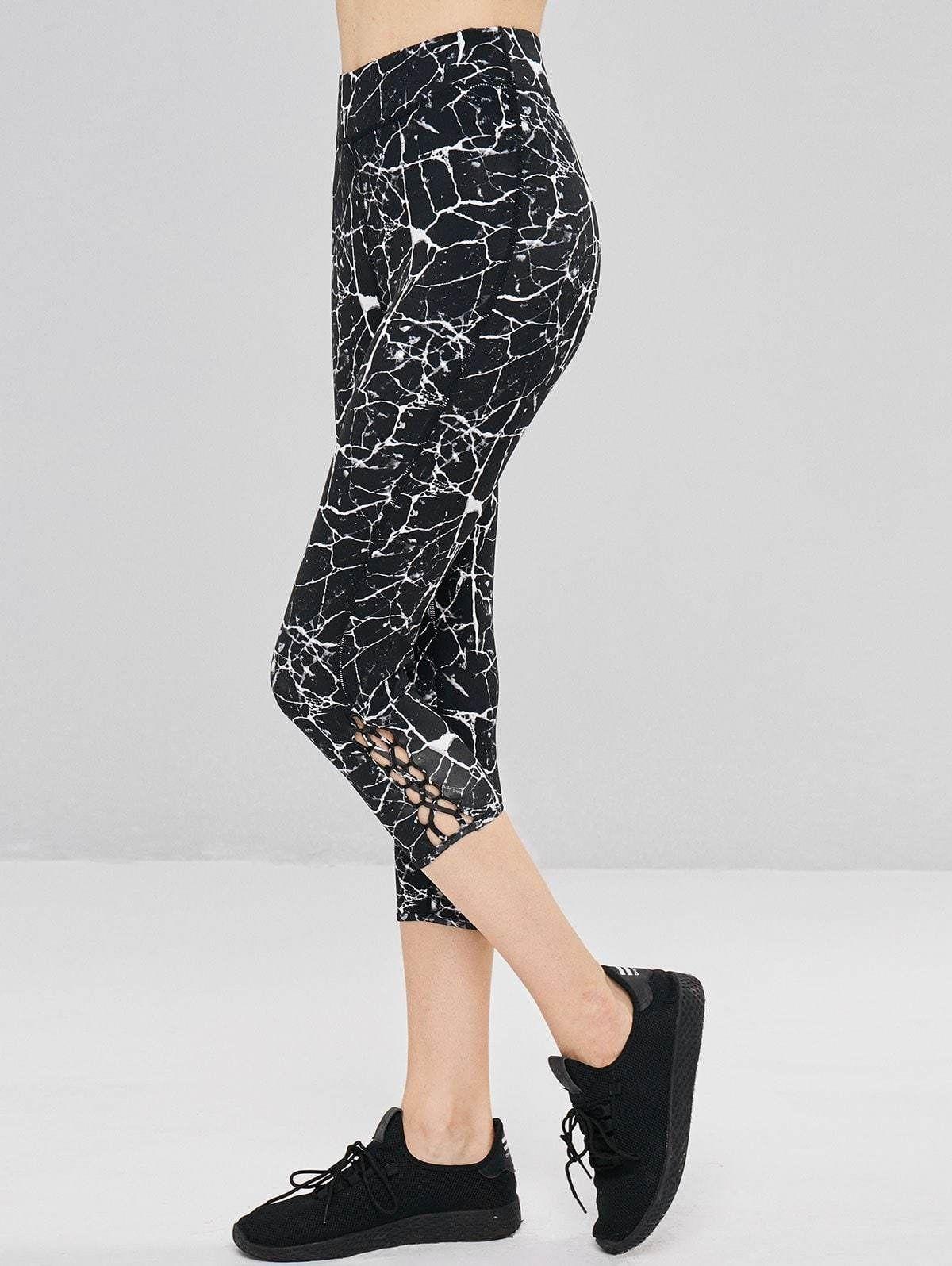 4ad8f780e7f01 Marble Print Criss Cross Sports Leggings – STEPEASY NET | Activewear ...