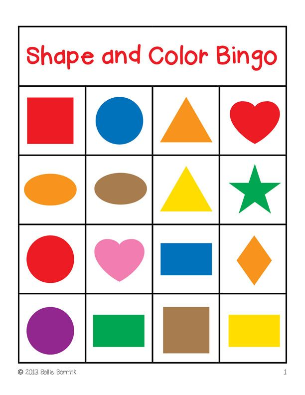 Shapes and Colors Bingo Game Cards 4x4 | Teaching English ...