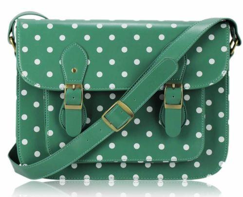 Ladies Designer Vintage Crossbody School iPad Polka Dots Spotty Satchel Handbag | eBay