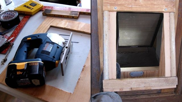 This Diy Dual Flap Dog Door Keeps The Weather Out Diy Doggie