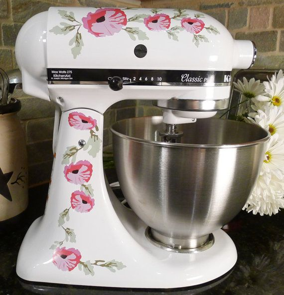 Pink Poppy Flowers Watercolor Kitchenaid Mixer Mixing Machine