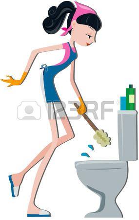 Chica De Limpieza Wc Bowl Con Saturacion Camino Limpiar Banos Limpieza Chico