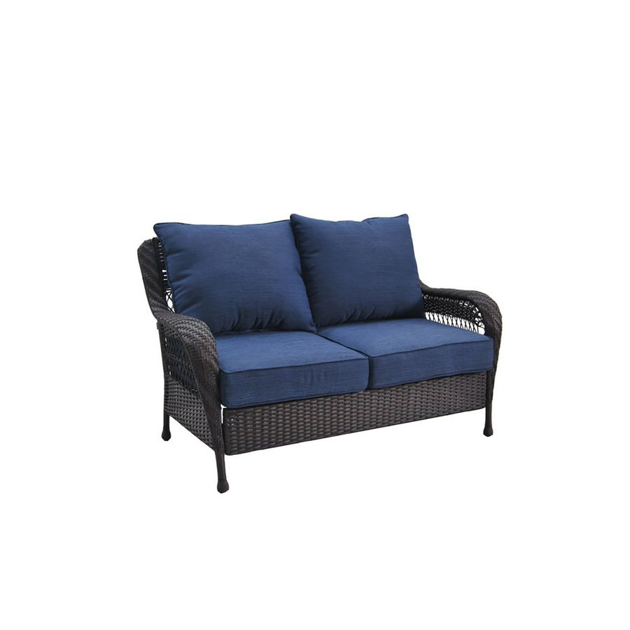 Attractive Allen + Roth Glenlee Brown Wicker 2 Seat Patio Loveseat With Blue Cushions