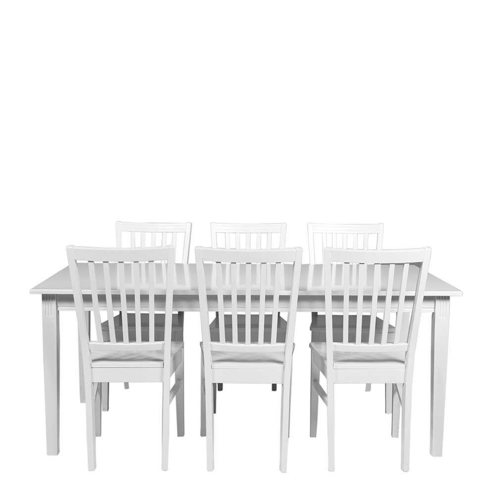Esstisch Mit Stühlen In Weiß Im Skandinavischen Landhausstil (7 Teilig)  Jetzt Bestellen Unter