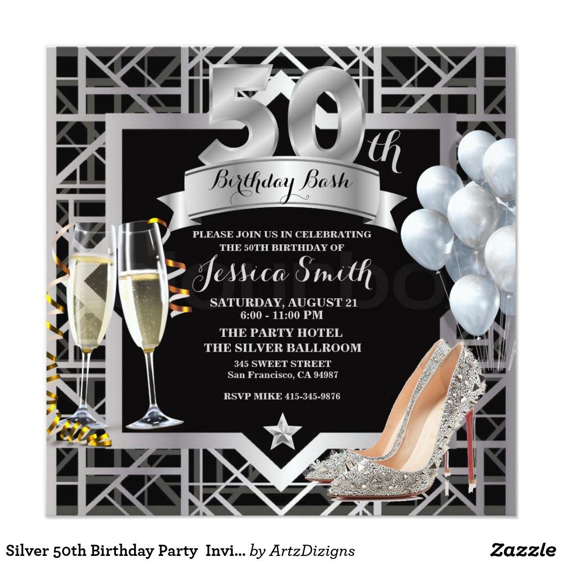 Silver 50th Birthday Party Invitation http://www.zazzle.com ...