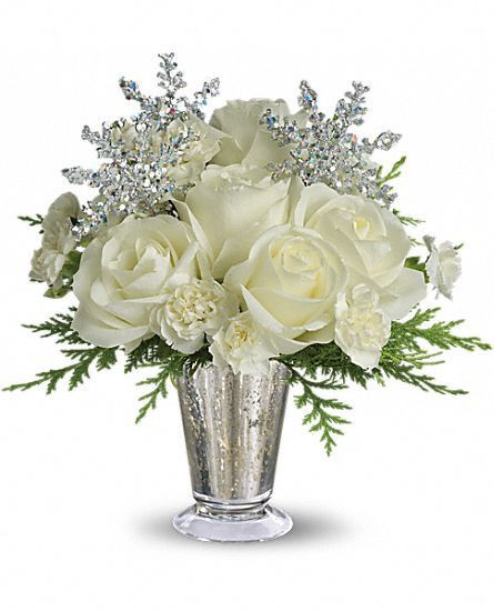 Christmas flower arrangement white glow