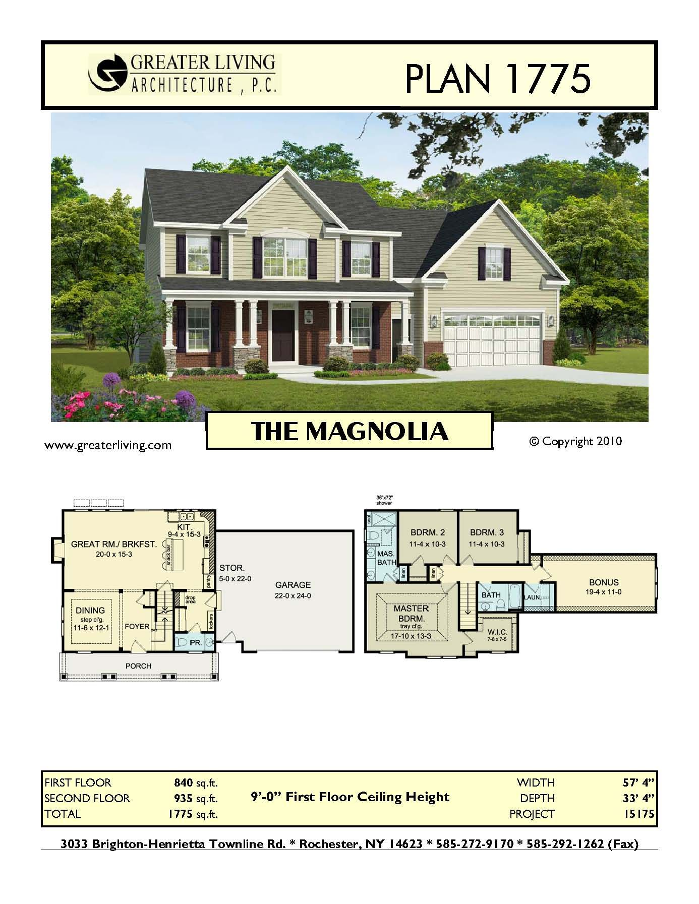Plan 1775 the magnolia house plans two story house plans 2 story