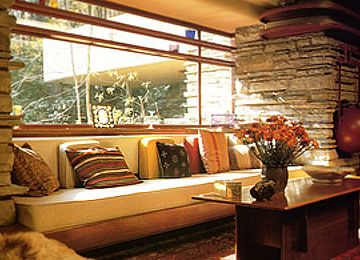 loungeroom of falling water - frank lloyd wright house | a