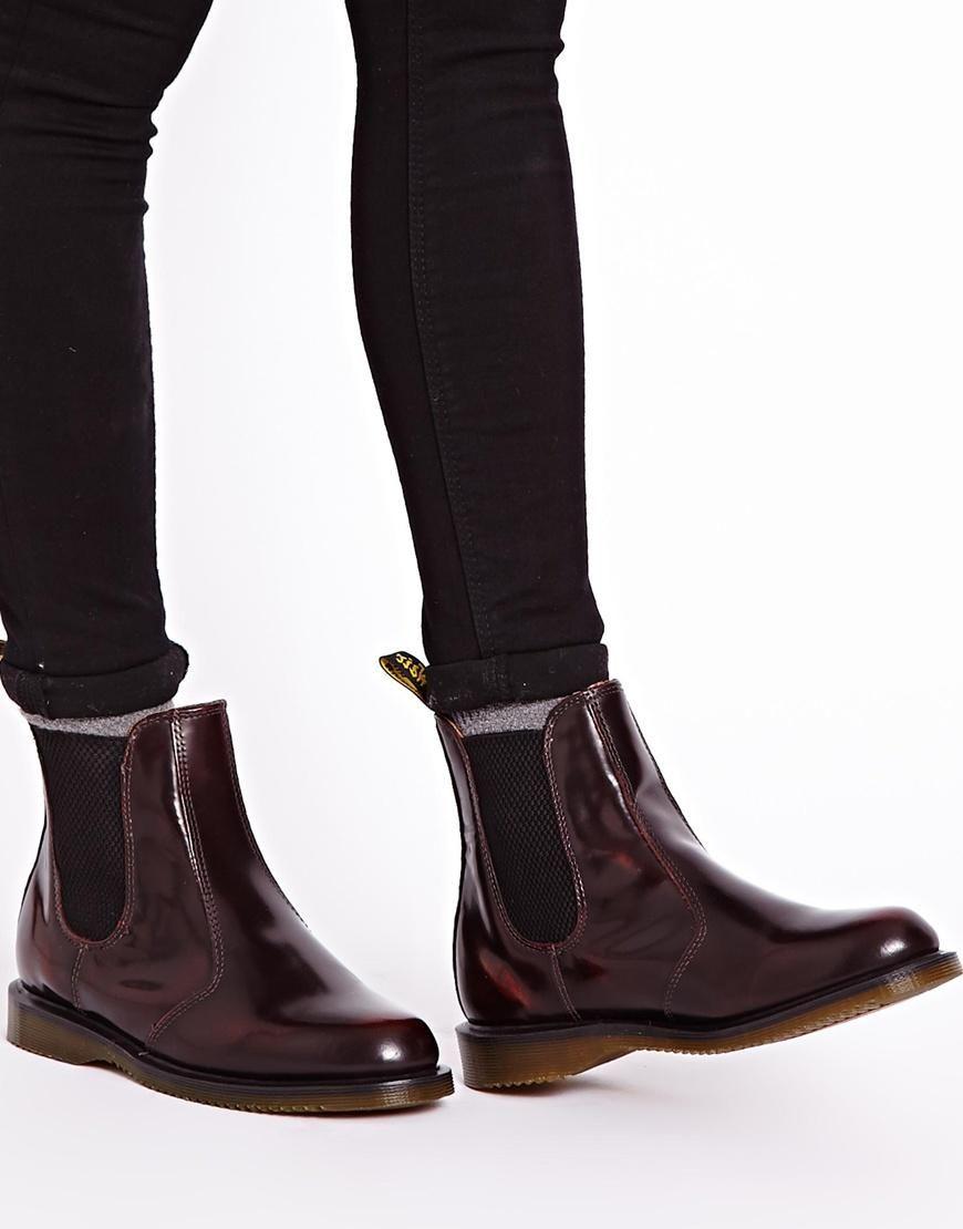 Dr Martens Kensington Flora Burgundy Chelsea Boots at asos.com