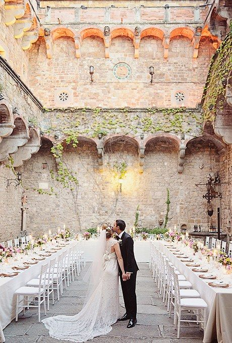 Long Banquet Style Wedding Tables Brides