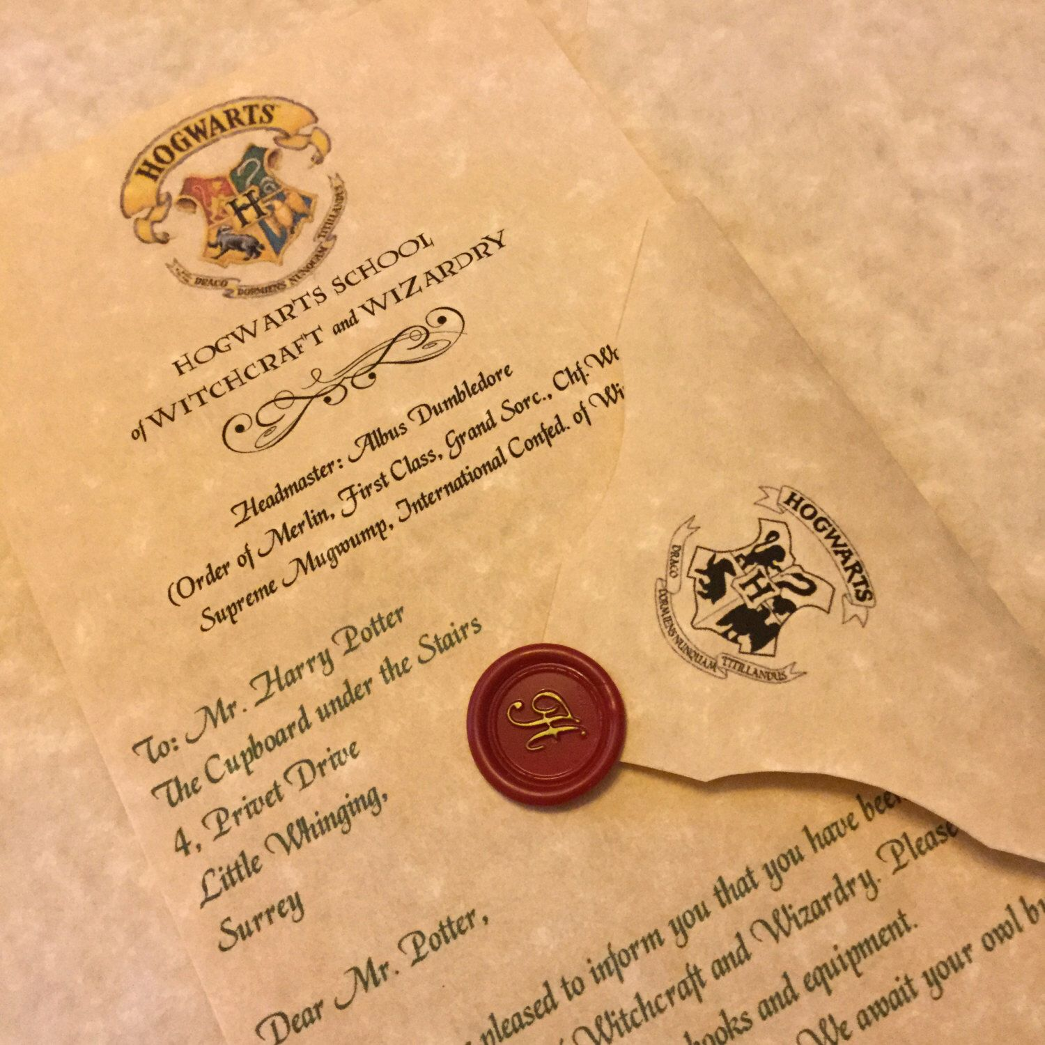 Personalized Hogwarts Acceptance Letter Personalized
