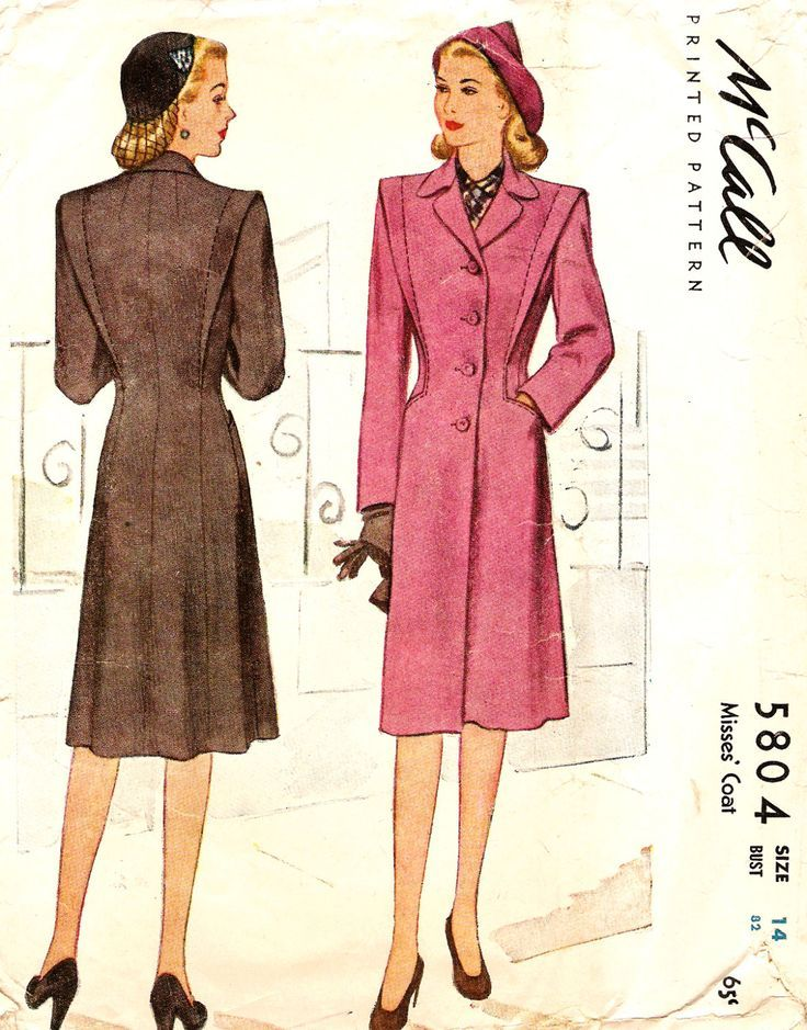 McCall 5804 Misses\' Vintage 1940\'s Coat Sewing Pattern | Past ...