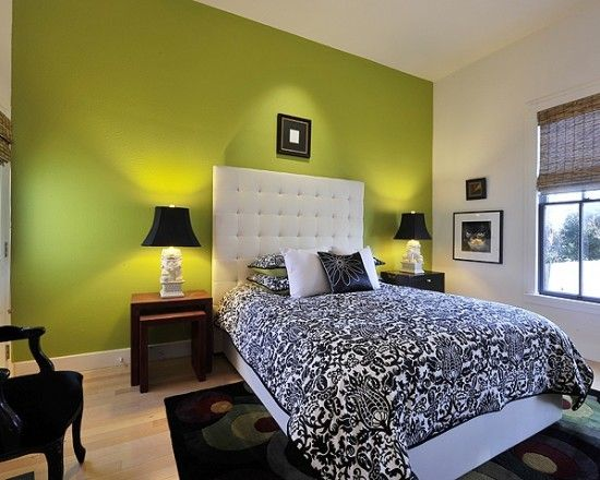 Lime Green Walls, black armchair, black lampshades, white tufted ...