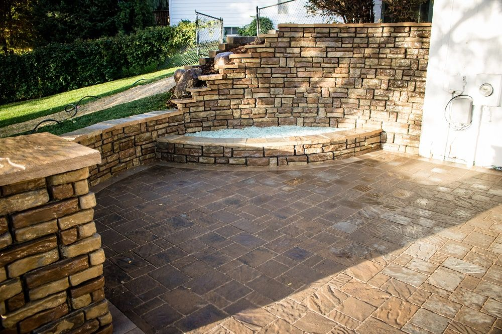 stone retaining wall stone seating wall outdoor fire pit