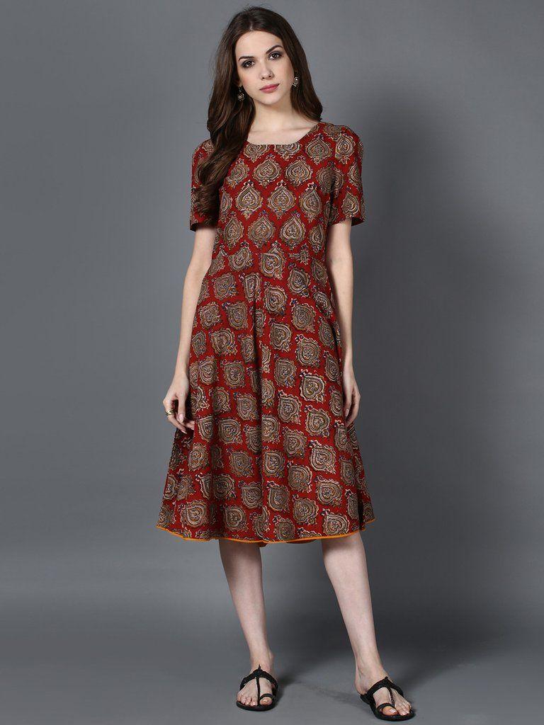 cb89a1463a4e Maroon Cotton Kalamkari Swing Dress