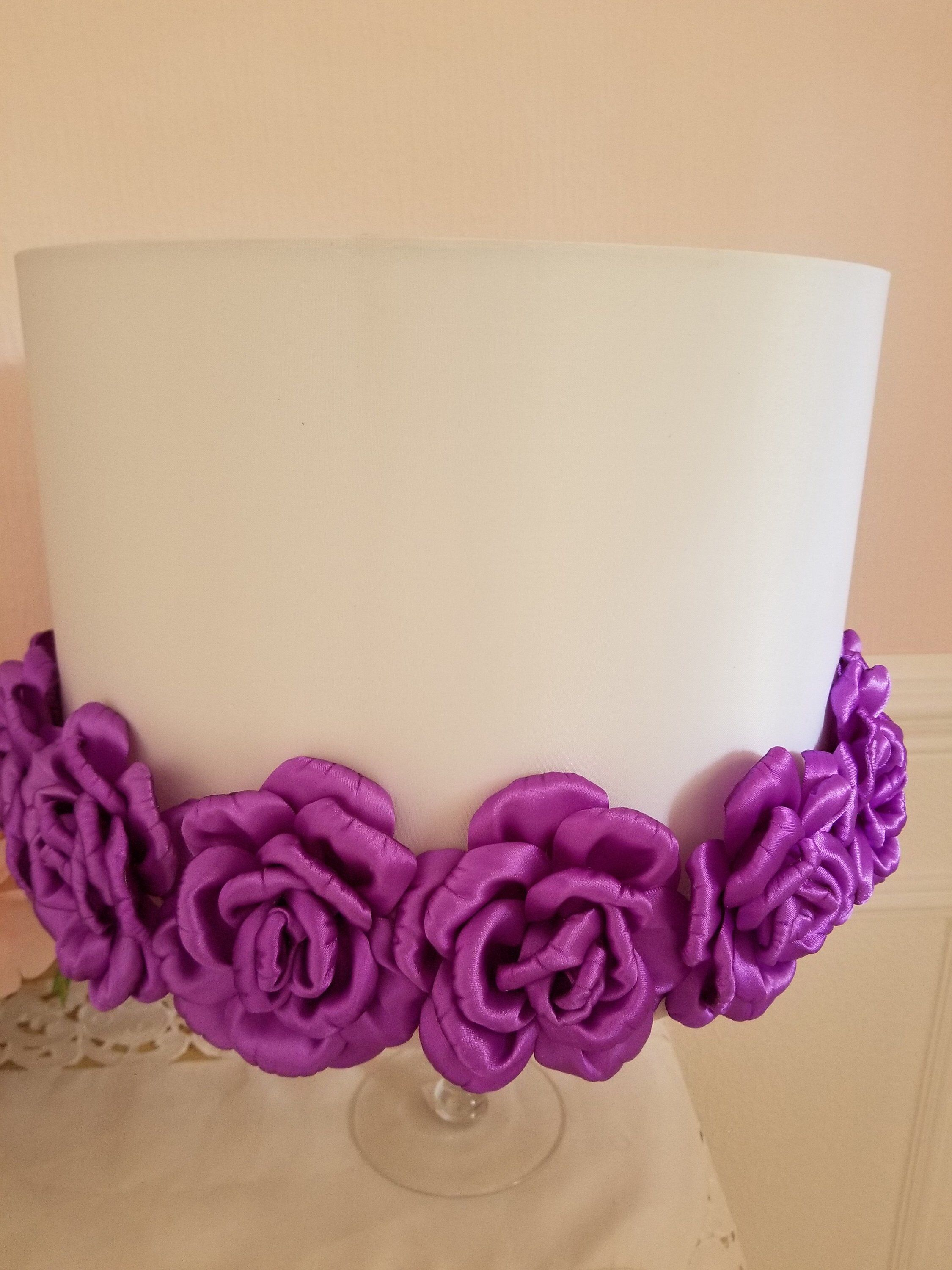 White And Lavender Floral Lamp Shade Etsy Silk Lampshade Floral Lamp Shade