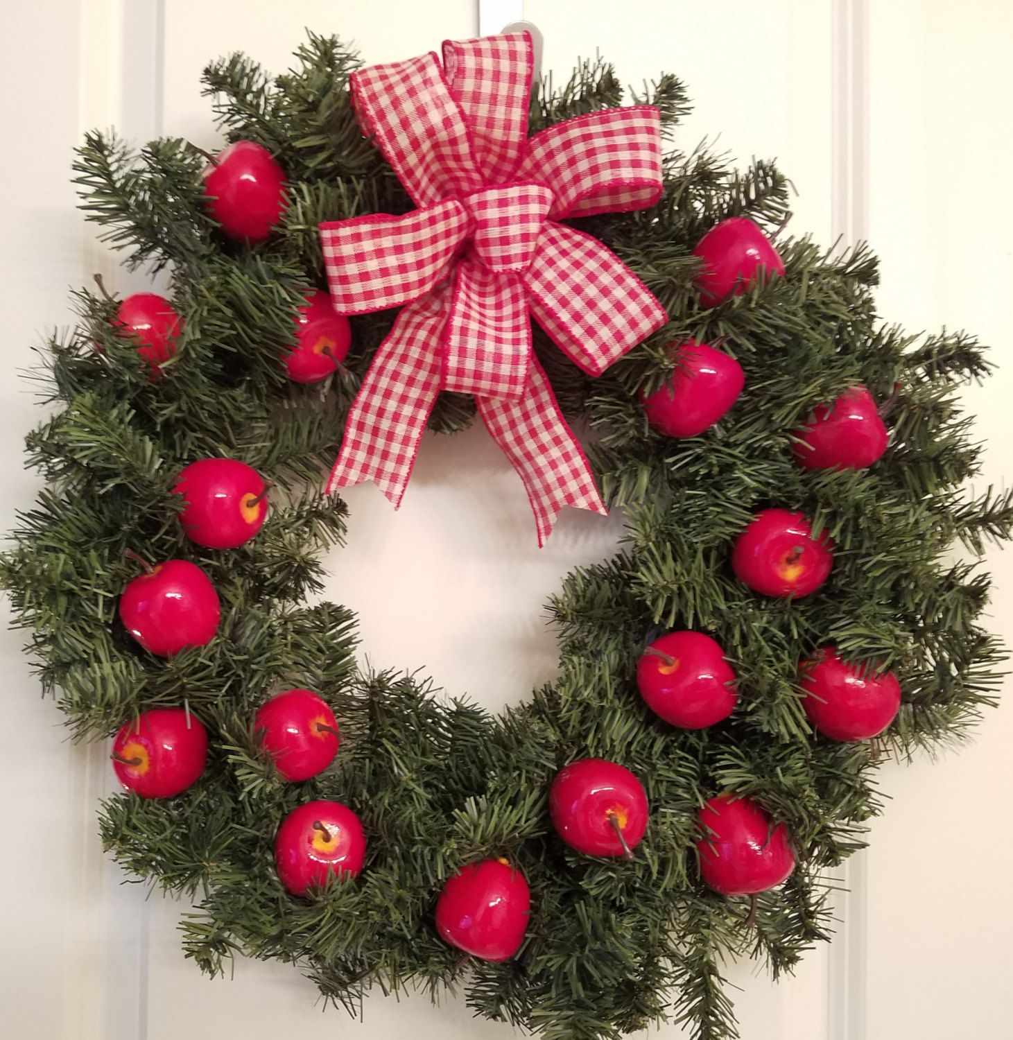 Fall Wreath, Christmas Wreath, Apples, Red, Red And White Plaid